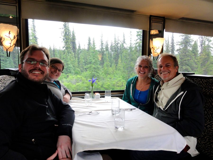 The foursome on the train to Denali